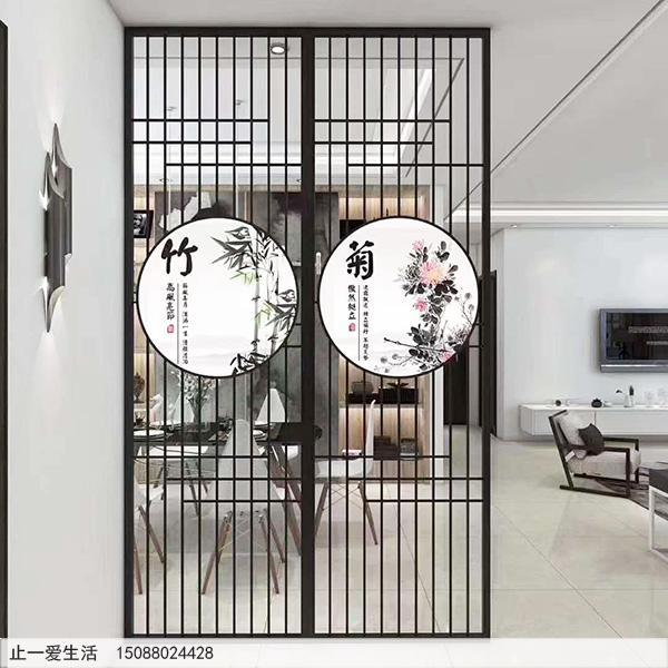 新中式不锈钢艺术画屏风效果图