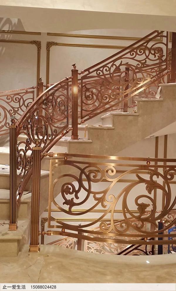 重庆别墅红古铜铝雕楼梯护栏安装图片分享6