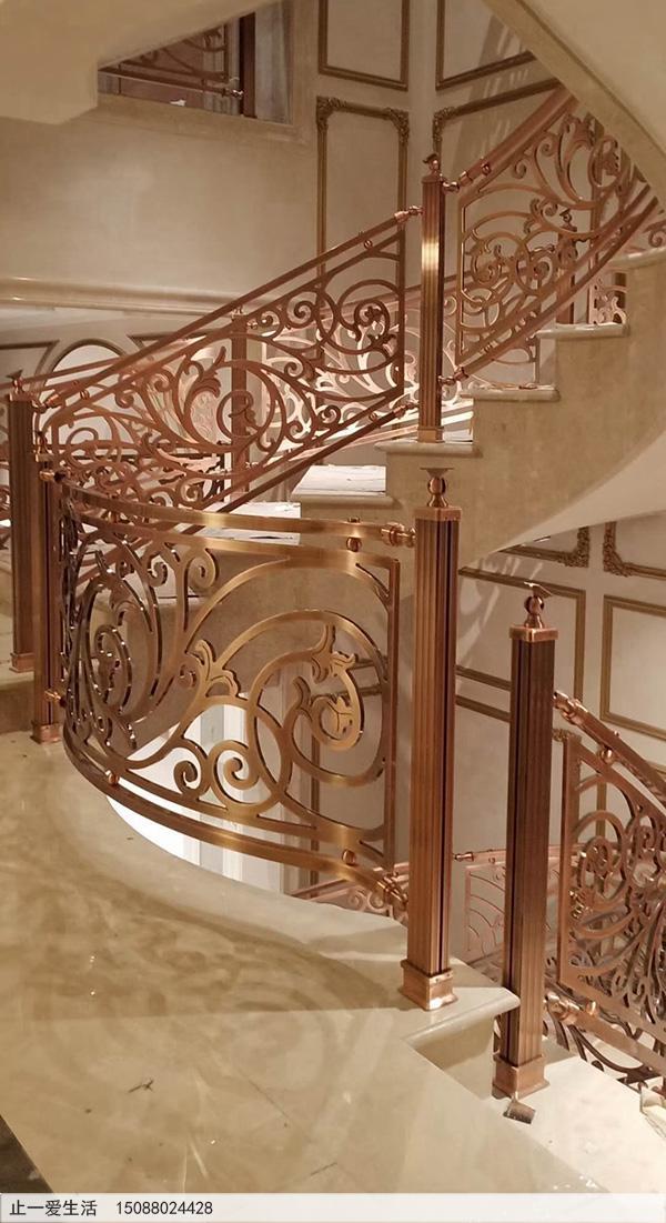 重庆别墅红古铜铝雕楼梯护栏安装图片分享1