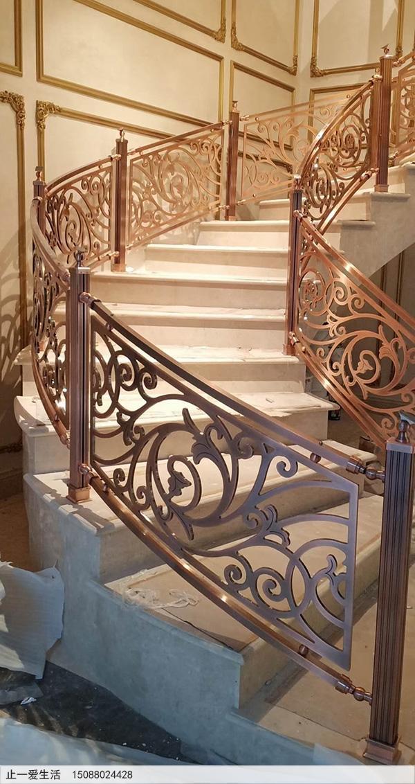 重庆别墅红古铜铝雕楼梯护栏安装图片分享7