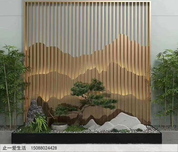 室内带灯光的山形不锈钢背景墙屏风隔断图片1