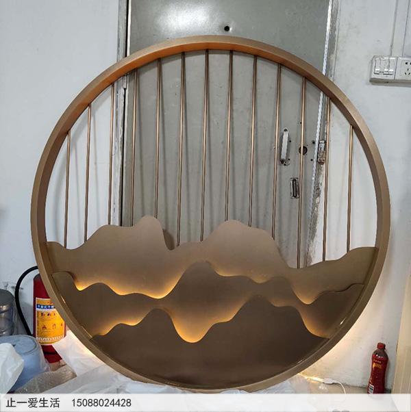 室内带灯光的圆形山形不锈钢背景墙屏风隔断图片