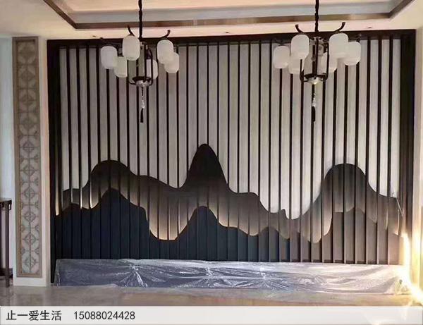 家居室内带灯光的山形不锈钢背景墙屏风隔断图片