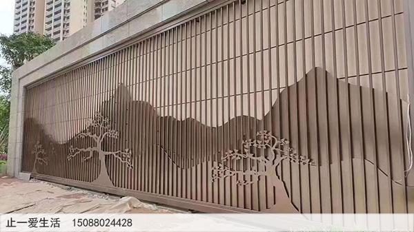 室外、户外小区外不锈钢山形背景墙屏风隔断安装效果图