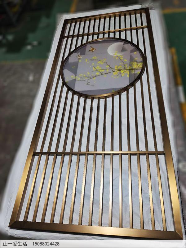 定制新中式艺术玻璃不锈钢屏风厂家