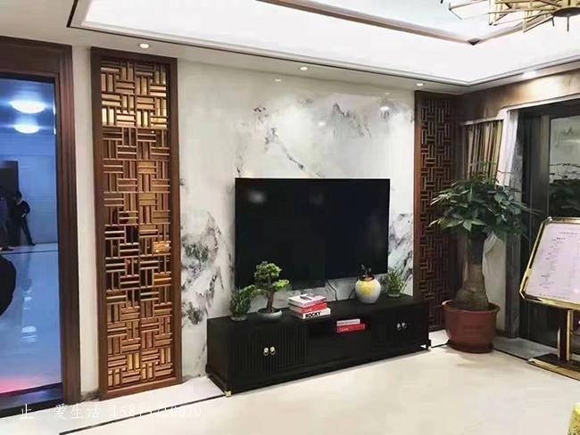 家庭客厅不锈钢屏风背景墙实景图