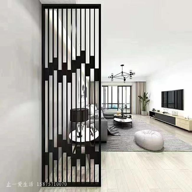 现代客厅轻奢不锈钢屏风隔断效果图