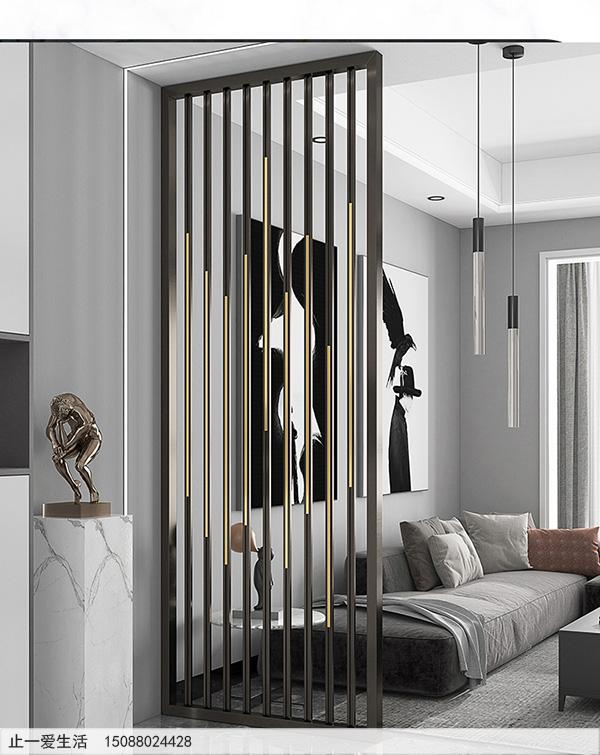 现代轻奢黑钛钛金双色客厅不锈钢屏风效果图