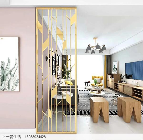 现代客厅北欧风格不锈钢屏风隔断效果图