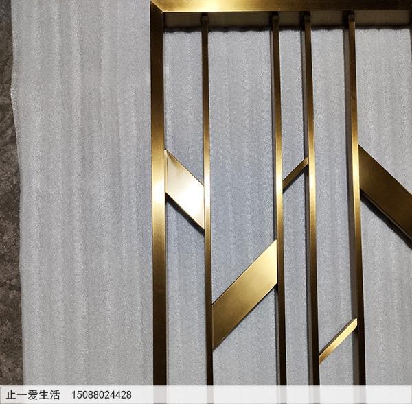 现代客厅北欧风格不锈钢屏风生产厂家高清节点图