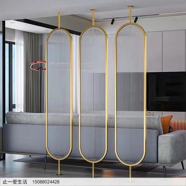 家居沙发背景墙棒棒糖不锈钢屏风隔断效果图