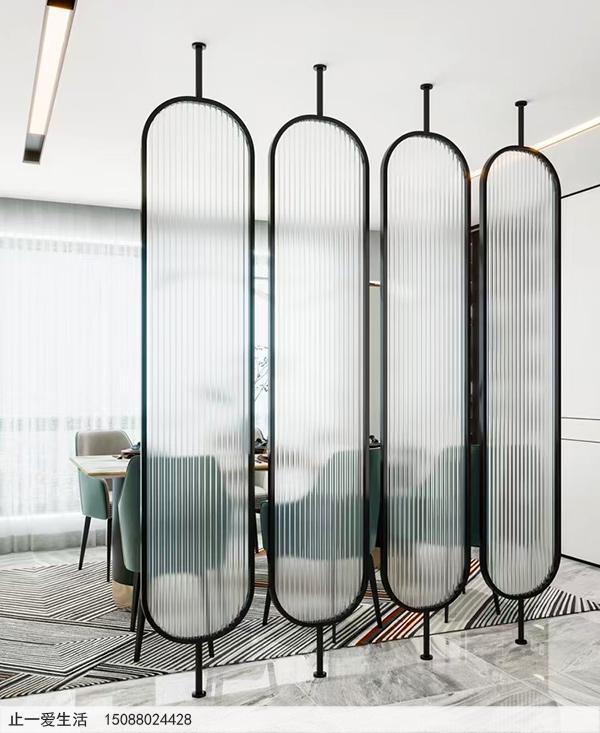 公司会议室棒棒糖不锈钢屏风隔断效果图